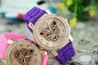 Women's analog head - New Arrival Fashion Women Geneva wristwatches silicone leopard head weaving Wrist Watch for women RQ33