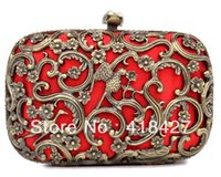 Cheap Designer Handbag Skull Red Brown Cut outs Day Evening Clutches