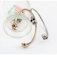 Wholesale 2016 New Gold Silver Punk Sided Skull Opening Bracelets Vintage Women Cuff Trendy Fashion Jewelry Individuality Cuff