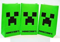 shopping bags paper - Minecraft paper bags JJ blame Creeper popcorn bag MC party food bags cinema cookie container package cm shopping bag Gift bag