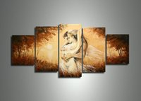 Cheap handmade 5 panel modern abstract oil painting on canvas wall art sexy naked lover body pictures unique gift free shipping