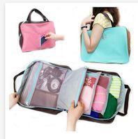 fashion fabric handbags - Fashion Multi fonction Traveling Storage Organizer handbag ndigo fabric storage box Clothing socks storage bag Frozenc1051