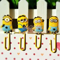 Wholesale 4pcs Despicable Me Minions Action Figures Bookmarks bookmark postcard binder paper clips supplies school suppies kids party favors