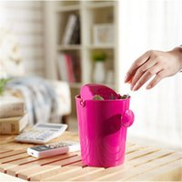 Wholesale Mini Garbage candy color Plastic Waste Bins Table Desk Trash Can Basket Rubbish Bin Storage Bucket Cleaning Tools