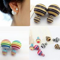 Wholesale Candy Color Double Sided Stripe Round Ball Beads Ear Plug Stud Earrings Popular