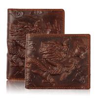 achat en gros de dragon cuir-Vente en gros-plus récents 2 Taille 100% Portefeuilles en cuir véritable Ethnique Vintage 3D Portefeuilles cubiques Dragon pour les hommes, courte monnaie d'embrayage Mode masculine bourses