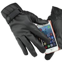 gloves leather gloves - Cool Men PU Leather Screen Touch Gloves Warm Driving Telefingers Gloves For Iphone Ipad Mobile ENV