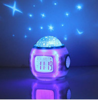 Wholesale Brand New Music Starry Sky Projection Children Room Sky Star Night Light Projector Lamp Bedroom Alarm Clock W music Freeshipping