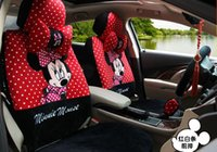 Wholesale 19pcs cute polka dot red mickey mouse car seats cover set cartoon auto chairs front and back seats covers neck rest pillow brake cover