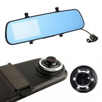 Wholesale Car dvr dual camera rear view mirror camera recorder p full HD lens cars carcam video rearview mirrors G sensor black box