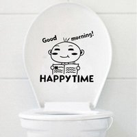 bathroom face - Brand New A Boy Reading Cartoon Smiling Face Wall Bathroom Toilet Sticker Lowest Price