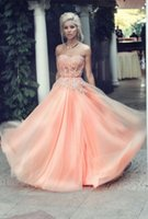 Cheap 2016 Coral Appliques Tulle Off The Shoulder Sweetheart See Through Corset New Arrival Formal Dresses Party Gowns Vestido De Festa
