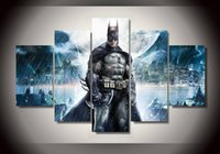 Wholesale 5 canvas batman film city canvas print sitting room bars and Internet cafes
