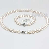 Cheap High Quality Cream Glass Pearl and Disco Rhinestone Ball Women Bridal Necklace Bracelet and Earrings Wedding Jewelry Sets In Stock CHeap ZYY