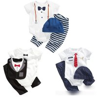 baby jumper - 2015 Summer Newborn Baby Romper Suits Short Sleeve Tie Bow Printed Bodysuits Trouser Hat Bib Sets Baby Jumpers Clothes Suits J3757