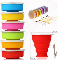 Wholesale 6 design Foldable Cup Mug Travel Camping Camping Gadgets Outdoor Cups Water Collapsible Silicon Travel Tooth brushing Cup LJJK81