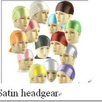 assorted headgear - ih001 plain satin headgear with tail for fast delivery assorted colors in one dozen