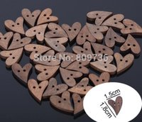 Wholesale Novelty set Brown Wood Wooden Sewing Heart Shape Button Craft Scrapbooking mm Buttons for Garment Accessories