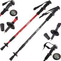 Cheap Telescopic Hiking Walking Sticks With Compass Aluminum Alloy Alpenstock Rod 66-135cm 3 Section Anti-shock Trekking Pole Sticks