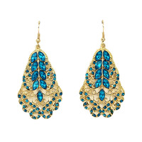Wholesale Cheap Jewelry Gold Color Plated Hollow out Alloy Vintage Leaf Shape Rhinestone Drop Earrings
