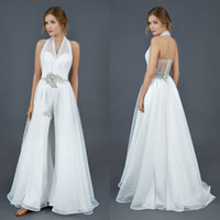 Wholesale Fashion Halter Pants Suit Wedding Dresses Spring Fall Charming Illusion Back A Line White Tulle Sweep Train Backless Beach Bridal Gowns