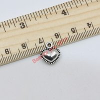 Wholesale Love Tone - Tibetan Silver Tone Double-Sided Smooth Heart Charms Pendants Floating Charm 12x13mm