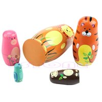 Wholesale Set Of Cute Wooden Animal Nesting Dolls Matryoshka Russian Doll Paint Gift