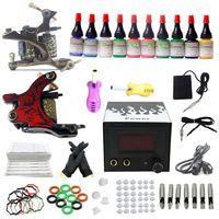 2 Guns Beginner Kit brand new USA Dispatch Top Starters Tattoo Kits 2 Machine Guns Power Grip Needles tips 10 Color ink pigment Equipment Set Supply A01K003 USA warehouse