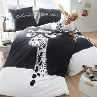 Cheap Black and white giraffe bedding set king size queen cotton bed sheets double quilt duvet cover designer bedspread linen animal deer print