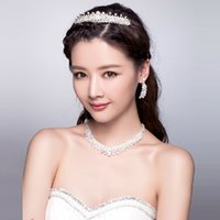 Wholesale 2015 New Fashion Wedding Bridal Women Crystal Rhinestone Clear Headband Beaded Crowns Hair Accessories Tiara Necklace Earrings Jewelry Set