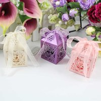 boxes for candy - 20Pcs Heart Laser Cut Candy Favour Boxes With Ribbon for Wedding Party Table Decoration Wholesales BOX AX