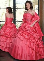 Wholesale Watermelon Taffeta Ball Gown Sweet Dresses Quinceanera Dresses Strapless Beads Ruffled Floor Length Zipper Back Cheap Debutante Gown