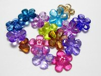 flower beads - 50 Mixed Colour Transparent Acrylic Flower Beads mm Center Drilled Flower