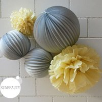 accordion paper lanterns - 5pcs Accordion Pleated Paper Lantern Paper Pom Poms Set Wedding Party Birthday Showers Home Event Decor Hanging Ball Flowers