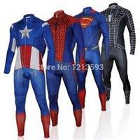 Wholesale Captain America Superman Spiderman Iron Man Cycling Jersey long sleeves bib pants Set ropa ciclismo wolfbike bicycle wear