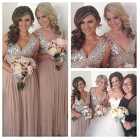 Wholesale Bling Bling Silver Bridesmaid Dresses chiffon floor Length custom size bridesmaid dresses sexy v neck prom dresses