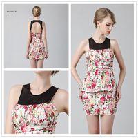Wholesale Short Graduation Dresses Flower Print Cotton Linen Slim Graduation Party Gown Vestidos Graduation