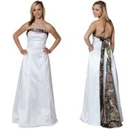 autumn tree pictures - 2015 Simple Strapless Camo Wedding Dresses Satin Custom Made Backless Wedding Gowns Sash Bow Real Tree Colorful Country Bridal Dresses