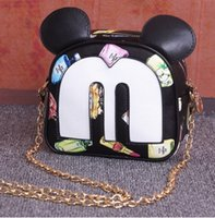 Wholesale 14 Color Girls Animal ear link chain small bag messenger bag print small bag cartoon mouse oblique package