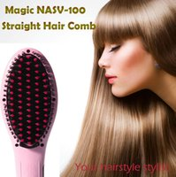Peigne chauffante à cheveux chaud Prix-HOT 100% Original Automatique Automatique LCD Digital Hair Straightener Belle Star NASV-100 Styling Auto Straight Comb Ion Non Curler Brush