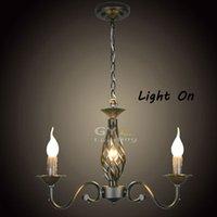 best selling candles - Best Selling Rustic Wrought Iron Chandelier Black lustre noir Antique Art Deco Pendant Lamp E14 Candle light GY YLB D312