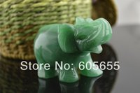"""Cheap 2.5"""" Height Carved Elephant Natural Green Aventurine Jade Polished Tumbled Stone Carving Craft Display Decor 5 pc per"""