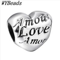 Cheap Wholesale-925 Sterling Silver Charm Amore Love Heart European Charms Silver Beads For Snake Chain Bracelet DIY Jewelry