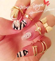 acrylic nail bows - 2015 Time limited Band Band Rings China tibet Party Rings African China miao Ruby Jewelry Metal Bow Skull Ring Joint Nail Plate Hot Stf105