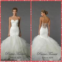 Wholesale vestidos de novia Pnina tornai Mermaid Wedding Dresses Beaded Sheer Back Lace Appliques Tulle Plus Size Bridal Gowns Wedding Party