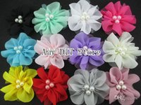 beaded hair supplies - xayakids colors NEW Tulle Flowers With Pearls Mesh Flower Beaded Flower DIY Supplies Ballerina Chiffon Flowers mini tulle mesh flo