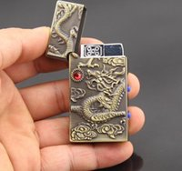 Wholesale China s Ancient Culture Dragon Pattern Refill Butane Gas Cigarette Jet Flame Windproof Lighter Golden