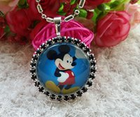 Wholesale 10pcs Children Baby Girl mickey mouse button rhinestone tray Pendant Jewelry Necklace Cabochon Decoration Dress Thanksgiving Christmas gift