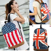 Wholesale Unisex Canvas Handbag Olympic American US UK Flag Star Banner Backpack School bags Schoolbag