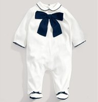 Cheap 2015 New Baby One-Piece & Romper Baby Gentlemen Clothing Infant Girls White Full Feet Long Romper with Bow Cheap 39916573016